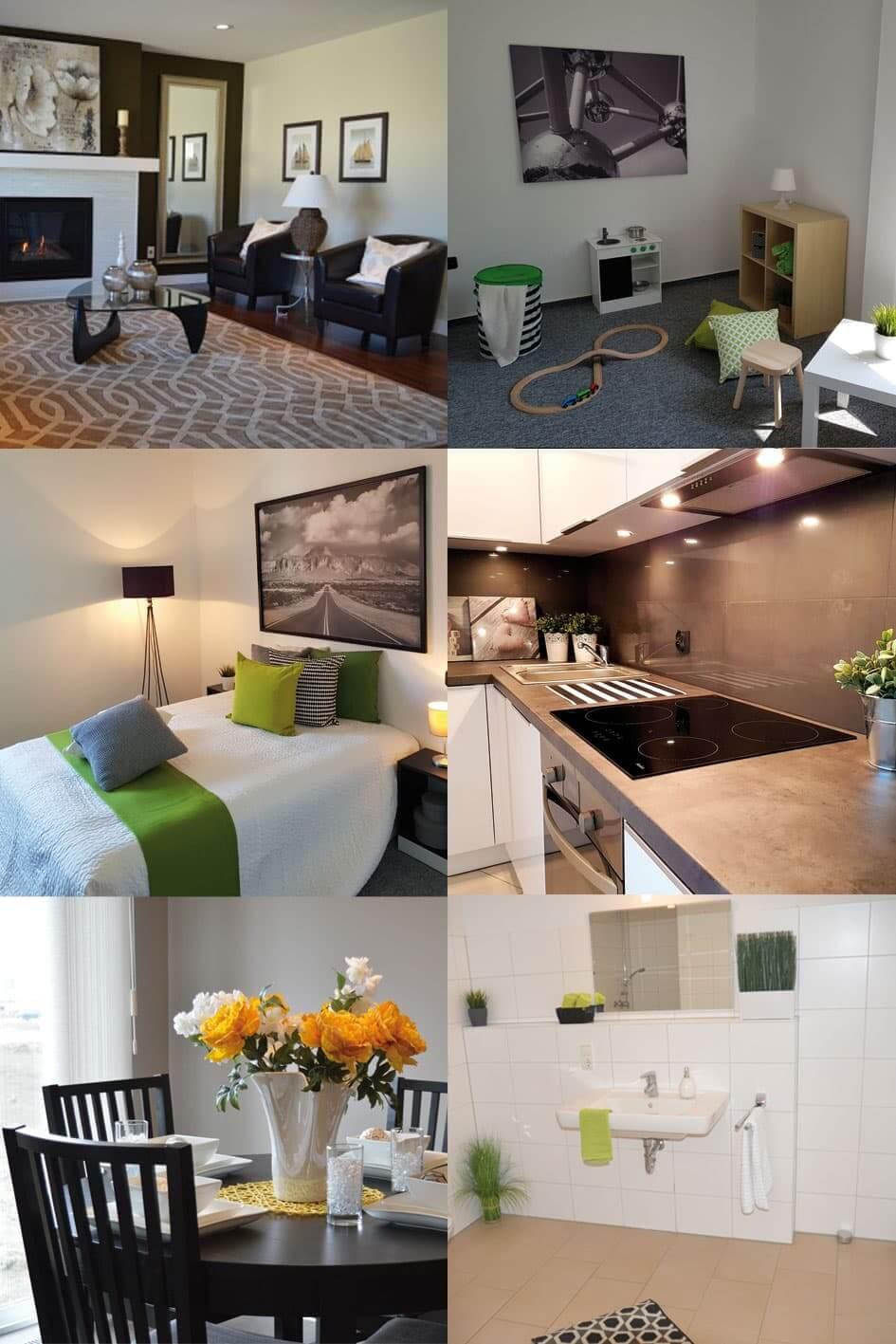 Home Staging von Küche, Kinderzimmer, Wohnzimmer, Schlafzimmer, Eßzimmer und Bad. (Beispiele extern)